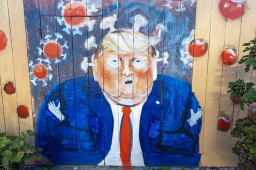A mural of U.S. President Donald Trump and coronavirus is seen in San Francisco, California, United States on April 7, 2020. | Yichuan Cao/SIPA USA/PA Images